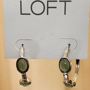 LOFT Green Stone Silvertone Hoop Earrings #483